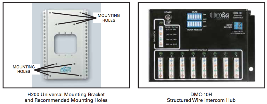 "An easy solution for mounting Linear's M&S Systems brand Model DMC-10H Structured Wire Intercom Hub inside another manufacturer's structured wiring enclosure containing an incompatible mounting grid is to use Linear's OpenHouse brand Model H200 Universal Mounting Bracket as an adapter. The H200 bracket measures 6-1/2""W x 10-1/4"" H and has room for one or two DMC-10H hubs. Also, the H200 bracket is compatible with all OpenHouse and ChannelPlus single-width structured wiring modules."