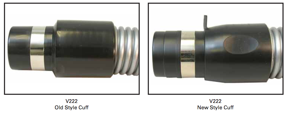 V222 & V361 Central vacuum hose cuffs improved