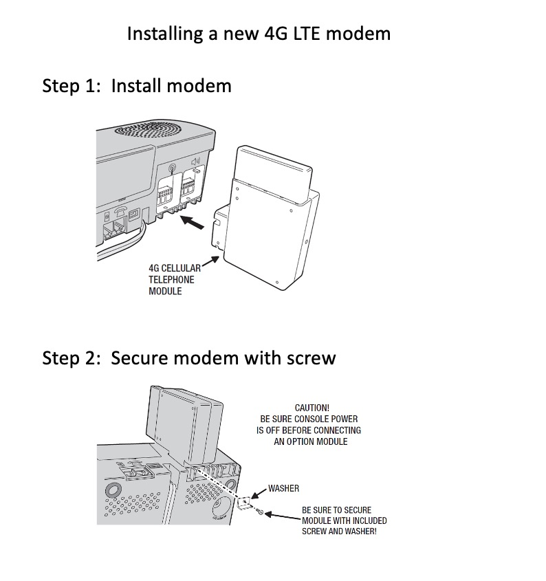 STEP 2:  Set up console and modem If there is an existing 3G modem in the 4200x console, you will need to remove the existing modem and cancel service.  Then plug in the new 4G LTE cellular modem(PERS-LTET-4200X or PERS-LTEA-4200X).  For details, see image below.  If this is a new 4200x console, just plug in the new modem.  For details, see image below.
